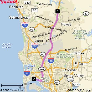 Map from San Diego Airport (SAN) to Power Analytics in San Diego, California